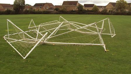 Police have stepped up patrols after vandals destroyed goal posts in Hethersett