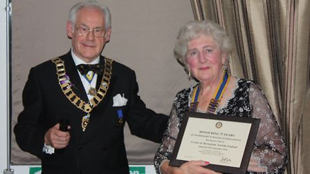 Cromer and Sheringham Rotary Club president Trisha Williams with East Anglia Rotary district governor Bill Redmayne at the...