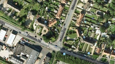 Google Map view of Dereham Road at the Richmond Road junction.