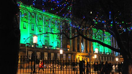 Norwich Christmas Lights switch-on and entertainment in 2012. City Hall all lit up. Photo: Steve Ada