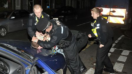 Specials at work detain a suspected drink-driver in Wisbech. Photo: Steve Williams