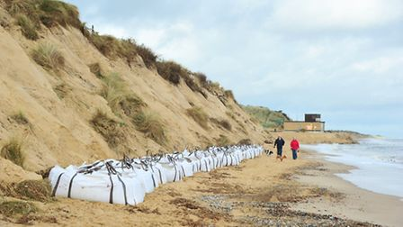 New concrete blocks are being put in place along Hemsby beach after recent dramatic coastal erosion.