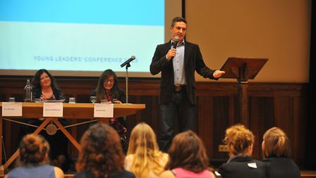 Paul McVeigh speaking at the conference for student leaders in Norwich. Photo: Bill Smith