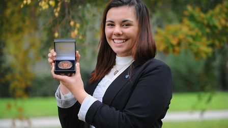 Lulu Roberts-aikens receives the Ralph's Medal from Wymondham College for her fundraising and bravery. the medal was given...