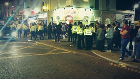 Trouble on Prince of Wales Road in Norwich. Five people were arrested after the disturbances.