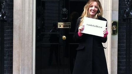 '@David_Cameron kindly let me #smileforDeryn outside his front door' Photo by Annabelle Dickson (@NewsAnnabelle)