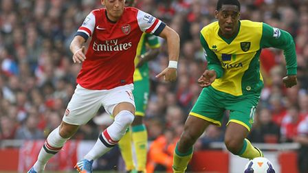 Norwich City's Leroy Fer did not look out of place amongst Arsenal's galaxy of midfield talent. Picture by Paul...