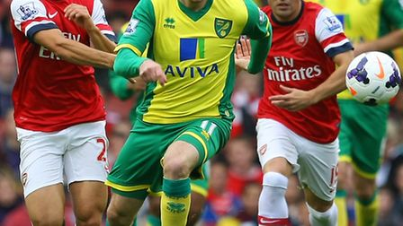Gary Hooper made his full Premier League debut at Arsenal in the absence of injured strike duo Ricky van Wolfswinkel and...