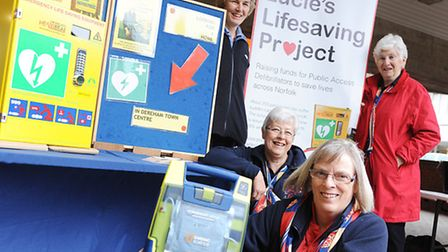 With some of the life saving equipment are members of the Dereham Trefoil Guild (from left) Annette Alston, Pat Goodall...