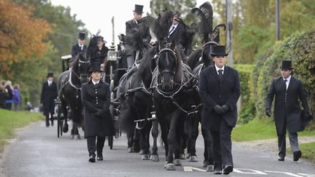 The funeral of Arthur Kidd processed through Briston on the way the Saxthorpe Church with many people taking part on Horse...