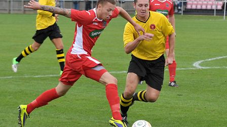 Tom James in action for Wisbech against AFC Kempston Rovers last week. Picture: STEVE WILLIAMS