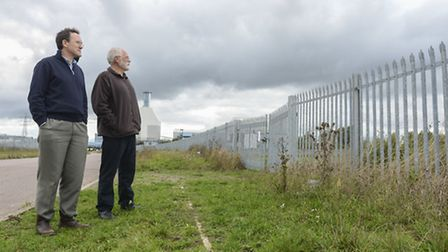 Dr Martin Little (right) and Mike Knights at the site of the proposed King's Lynn Incinerator. Pictu