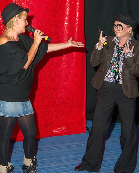 Halsey House's Got Talent - Julie Fields and Tina Gray as Kiki Dee and Elton John. Picture: LES BR