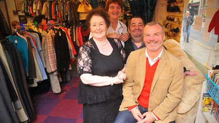 Former Norwich City football player Robert Fleck with staff at the Store House Community Project Shop on Magdalen Street...