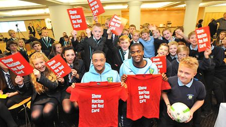 Norwich City stars Nathan Redmond and Sebastien Bassong join Norfolk school children for a Show Racism the Red Card event...