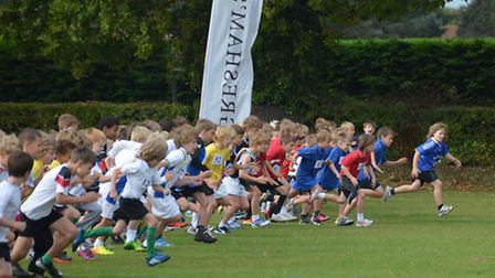 Theyre off - action from the cross country races for youngsters from all over the region held at Gresham's School, Holt