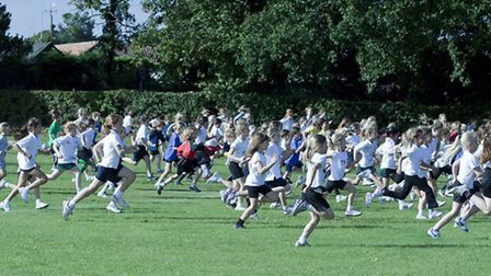 Girls' race - action from the cross country races for youngsters from all over the region held at Gr