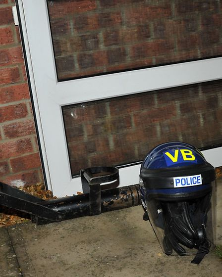 The battering ram used on the raid of the house in Conference Way.