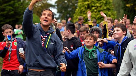 Bear Grylls fiming himself on arrival at the Fritton Lake scouting day on Saturday. Photo: Bill Smith