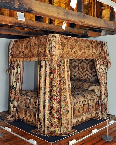 Bed hangings dating from 1800 by Anna Margaretta Brereton of Brinton Hall, Norfolk, at the 'Frayed: