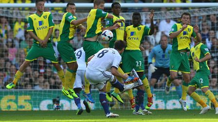 The Norwich City wall blocks a free kick from Frank Lampard. Picture: Paul Chesterton / Focus Images