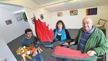 Adam(left) and Stuart Goodman, owners of the Red Light Gallery, with Little Plumstead Hospital art tutor Cora Mullenger...