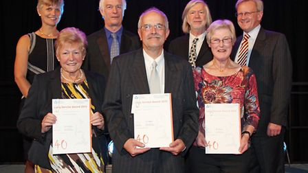 40 years long service awards, presented by Anna Dugdale and John Fry. Front row Georgina Hicks, Mich
