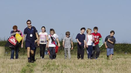 Students and staff stride out on the Cromer Academy sponsored walk