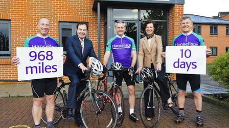 Second on left Hansells Managing Partner Roger Holden and Hansells Marketing Executive Dawn Towns wi
