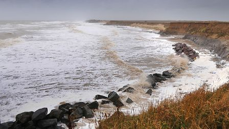 The rough sea and high winds continue to batter Happisburgh eroding cliff. PHOTO: ANTONY KELLY