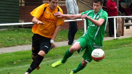 Gorleston, green, face a trip to Haverhill Rovers today. Picture: Submitted