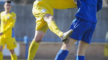 Dan Quigley, yellow, is an injury doubt for Lynn this afternoon. Picture: Matthew Usher.