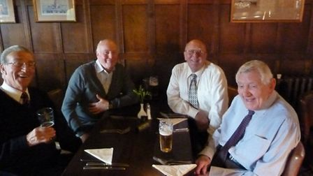 Bob Knights and Harry Walpole met up after 50 years . Pictured: Bob Knights, Ron Bishop, Sid Houghto