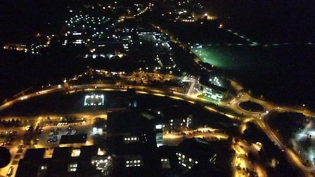 The new lit helipad at the Norfolk and Norwich University Hospital from the sky