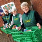 Cromer and District Foodbank distribution centre at Holt Youth Project.Volunteers, left to right, Mi