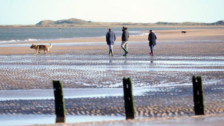 Walking the dog on Brancaster Beach in the winter. Picture; Matthew Usher.