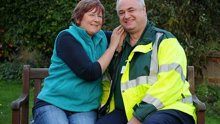 Sandra King, from West Beckham, pictured with community first responder Nathan Liberman.PHOTO: ANTON