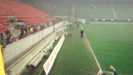 The figure walking towards the Norwich City fans to acknowledge their support at the San Siro is the