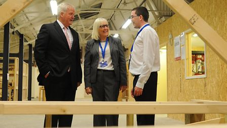 Colonel Bob Stewart has a look round the workshops after opening the St Eds Skills Centre, with reap
