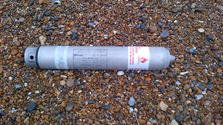 One of the US Airforce flares found on Cley beach. Picture: NORFOLK POLICE
