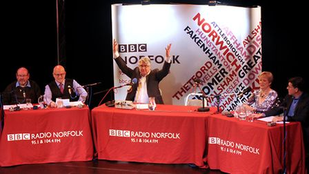 Should the Team Think? panel show at Cromer Pavilion Theatre. Left to right, Keith Skipper, Nigel Pi