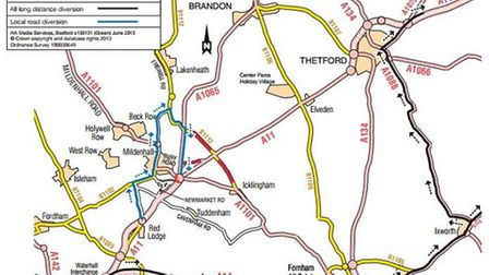 Diversions to the A11 Fiveways roundabout for the weekend October 4-7