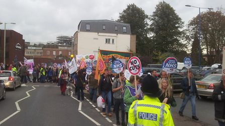 Protesters marching through Norwich as part of the demonstrations organised by the Norfolk People's