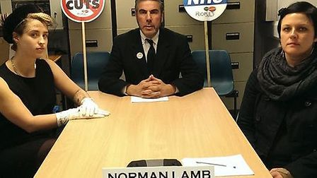 Members of the Norfolk People's Assembly occupy Norman Lamb's office. Picture: Norfolk People's Asse