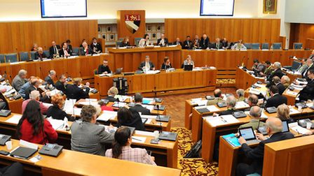 The full council meets at County Hall for the incinerator debate. Picture: Denise Bradley