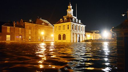 The Custom House is surrounded by water in King's Lynn. Picture: Matthew Usher.