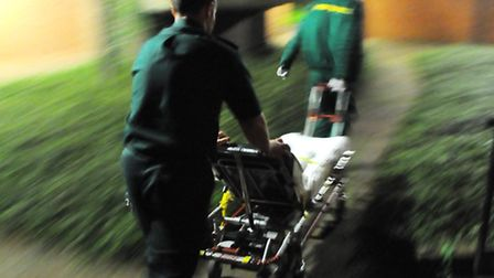 East of England Ambulance Service paramedics respond to an emergency in Norwich.