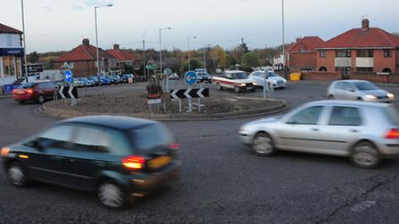 The Heartsease roundabout in Plumstead Road, Norwich. PHOTO BY SIMON FINLAY