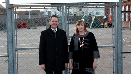 College of West Anglia principal David Pomfret with Eastgate Primary School headteacher Linda Hother