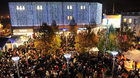 Great Yarmouth christmas lights switch on event in the town centre. A crowded Market Place. November 2013. Picture:...